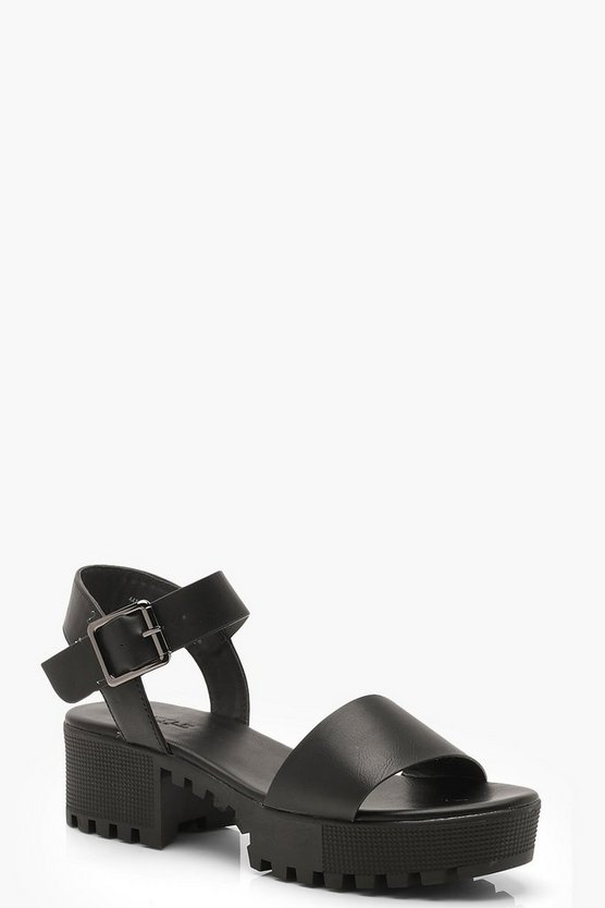 Womens Black Cleated 2 Part Sandals