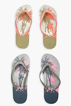 Palm Tree Print Flip Flops 2 Pack