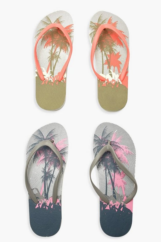 Womens Green Palm Tree Print Flip Flops 2 Pack