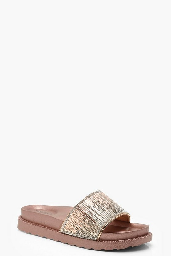 Womens Rose gold Embellished Pool Sliders