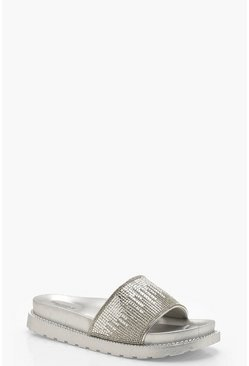 Womens Silver Embellished Pool Sliders