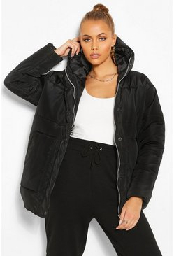 Womens Black Matte Satin Hooded Puffer