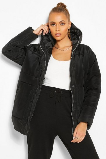Black Matte Satin Hooded Puffer