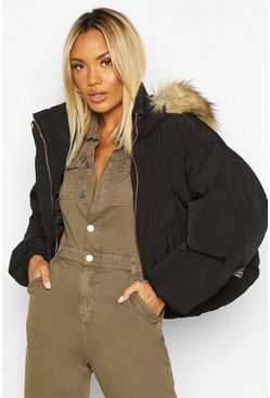 Black Faux Fur Trim Hood Crop Puffer