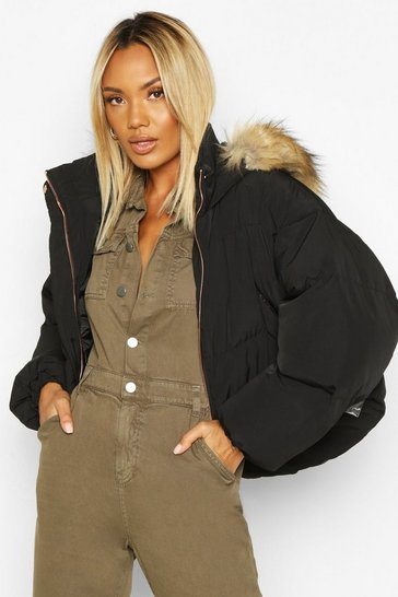 Womens Black Faux Fur Trim Hood Crop Puffer