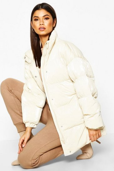 Womens Ivory Pearlescent Belted Puffer Jacket