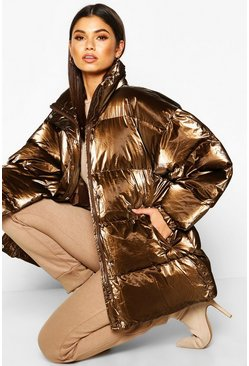 Womens Chocolate Pearlescent Belted Puffer Jacket