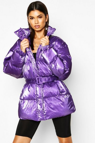 Womens Purple Pearlescent Belted Puffer Jacket