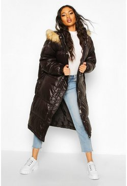 Womens Black Longline Cire Faux Fur Trim Puffer