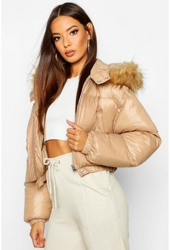 Womens Camel Cire Crop Faux Fur Hood Puffer Jacket