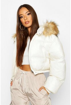Womens Pearl Cire Crop Faux Fur Hood Puffer Jacket