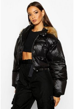 Womens Black Cire Crop Faux Fur Hood Puffer Jacket