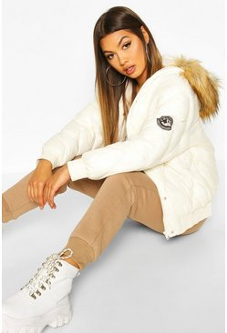 Pearl Cire Faux Fur Hooded Puffer