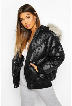 Womens Black Cire Faux Fur Hooded Puffer