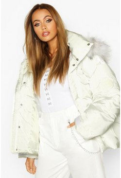 Womens White Double Pocket Faux Fur Trim Puffer