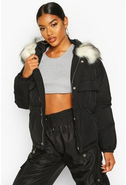 Black Double Pocket Faux Fur Trim Puffer