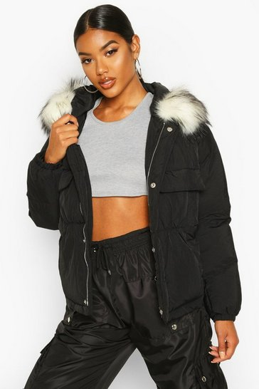 Womens Black Double Pocket Faux Fur Trim Puffer