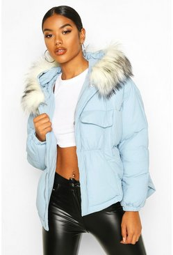 Blue Double Pocket Faux Fur Trim Puffer