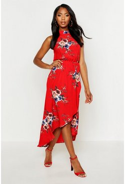 Womens Red Woven Rose High Neck Midaxi Dress