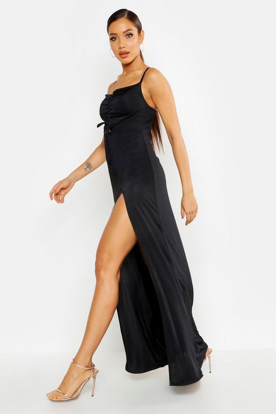 Womens Black Strappy Rouche Front Split Maxi Dress