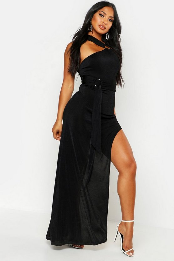 Womens Black Textured Slinky Ring Detail Maxi Dress
