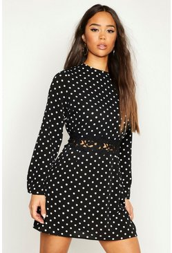 Womens Black Woven Spot Crochet Shift Dress