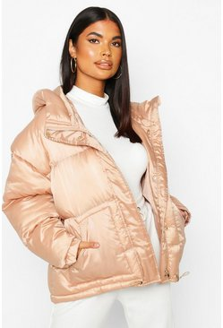 Womens Nude Satin Hooded Puffer Jacket