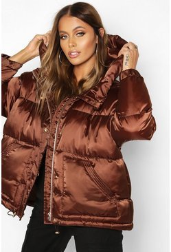 Womens Chocolate Satin Hooded Puffer Jacket