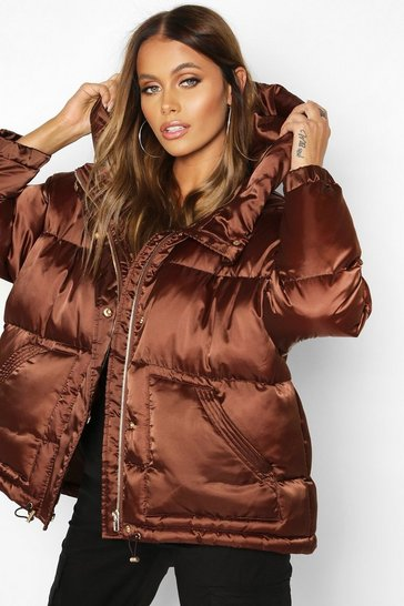 Chocolate Satin Hooded Puffer Jacket