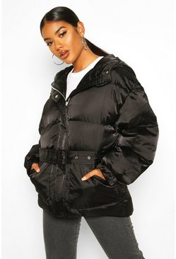 Womens Black Satin Belted Puffer Jacket