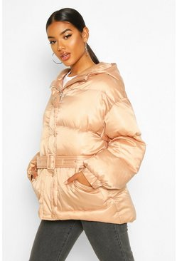 Nude Satin Belted Puffer Jacket