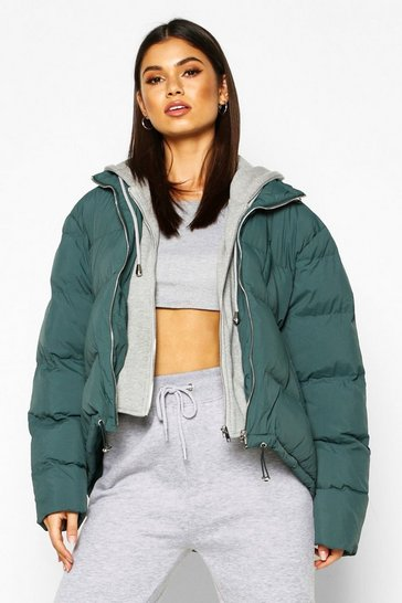 Womens Green Jersey Hooded Padded Puffer