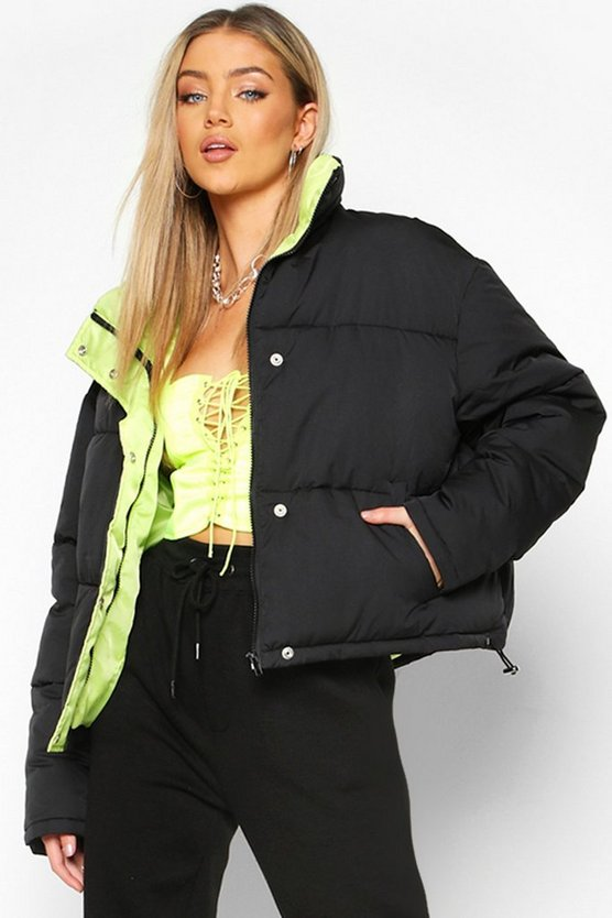 Black Contrast Lining Puffer Jacket