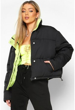 Womens Black Contrast Lining Puffer Jacket