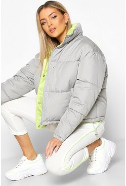 Womens Grey Contrast Lining Puffer Jacket