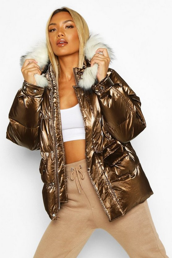 Womens Chocolate Pocket Pearlescent Faux Fur Trim Puffer