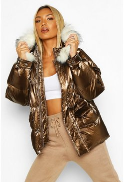 Chocolate Pocket Pearlescent Faux Fur Trim Puffer