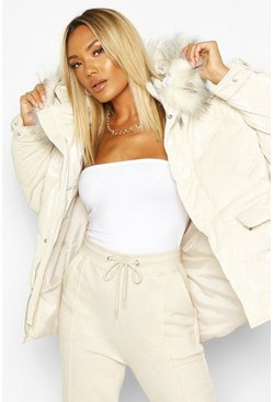 Ivory Pocket Pearlescent Faux Fur Trim Puffer