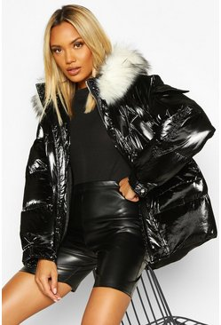 Womens Black Pocket Pearlescent Faux Fur Trim Puffer