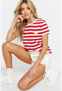 Red Star Badge Stripe Ringer T-Shirt