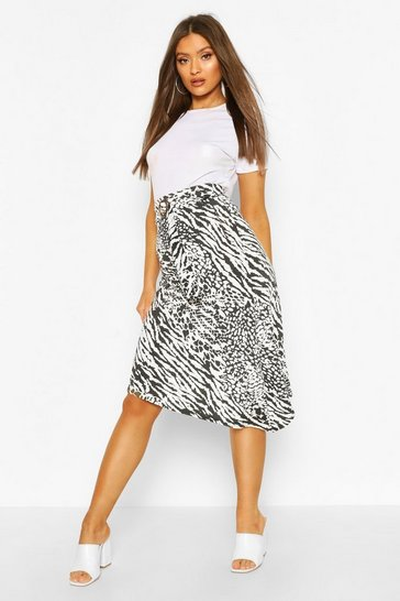 Buckle Animal Midi Skirt