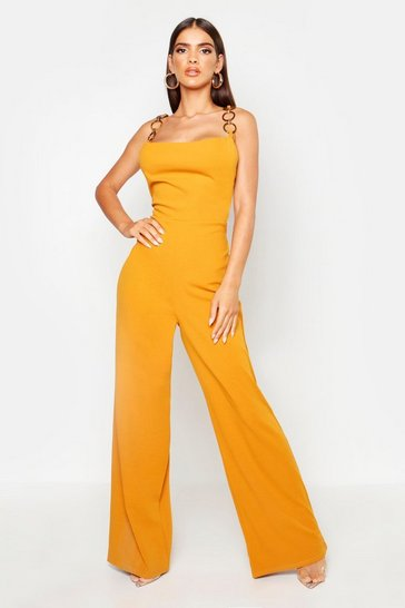 Womens Mustard Ring Buckle Cowl Jumpsuit