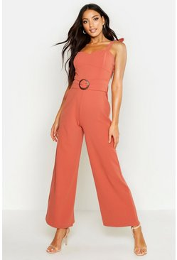 Rose Buckle Cupped Jumpsuit