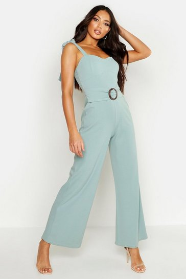 Womens Turquoise Buckle Cupped Jumpsuit