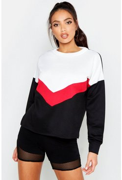 Sweat colour block à chevrons, Rouge, Femme