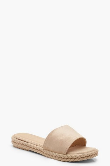Womens Beige Espadrille Sliders