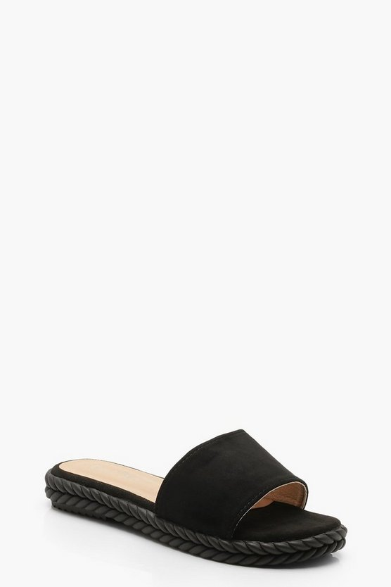 Black Espadrille Sliders