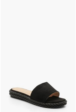 Womens Black Espadrille Sliders