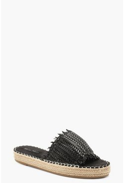 Womens Black Woven Espadrille Sliders