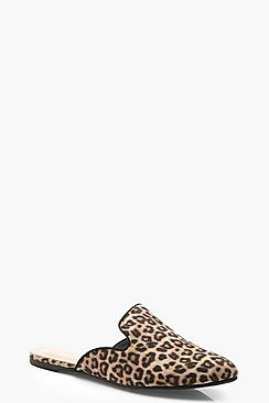 Leopard Pointed Mule Loafers